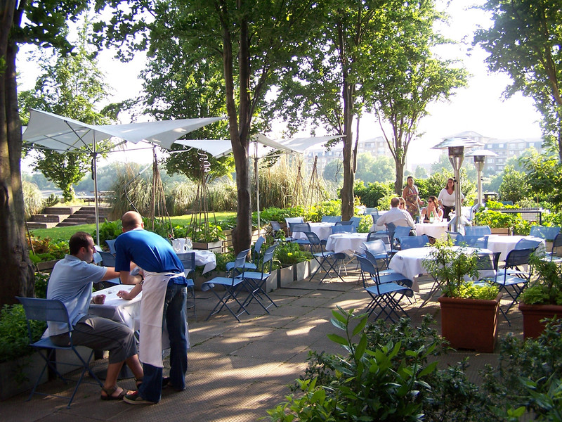 The terrace garden has become an integral part of The River Cafe experience